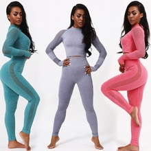 Vrouwen Yoga Crop Top Naadloze Leggings Yoga Set Yoga Broek Gym Set Hoge Taille Legging Broek Sport Kleding Fitness Shirt
