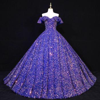 Quinceanera Dresses 2021 New  Luxury Palace Sequin Ruffle Boat Neck Princess Skirt Ball Gown Prom Dress Sukienka Balowa