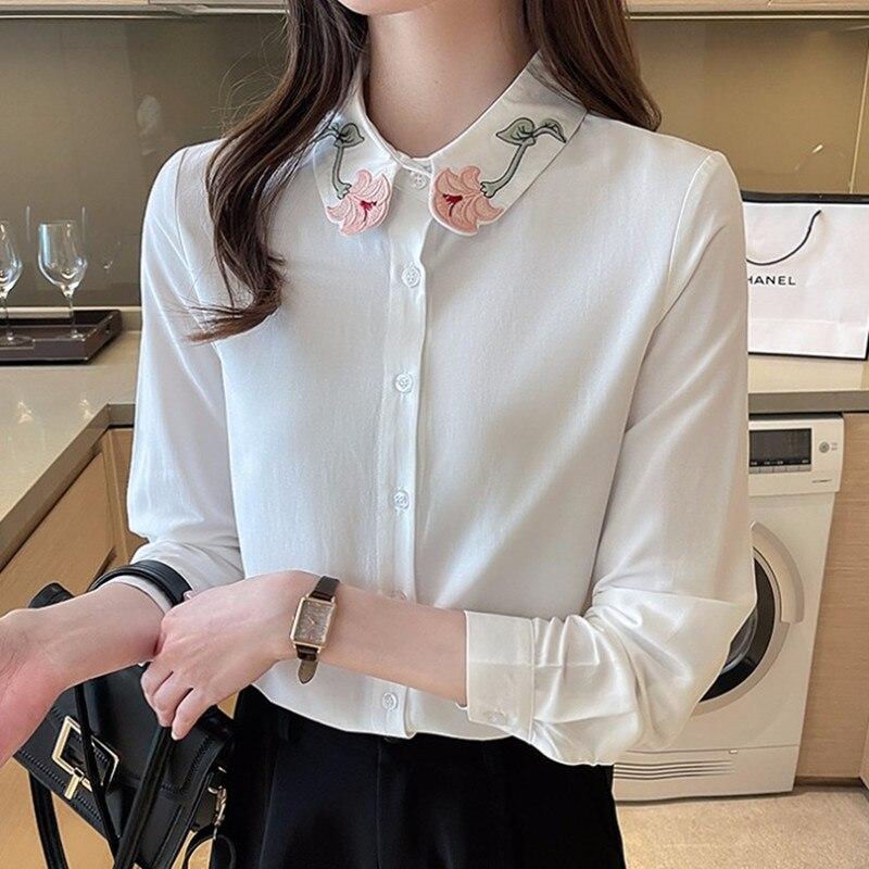 white floral print self tie wrap blouse Korean Chiffon Women Shirts Blouse Women White Shirt Woman Embroidered Print Shirt Woman Long Sleeve Blouse OL Floral Ladies Top