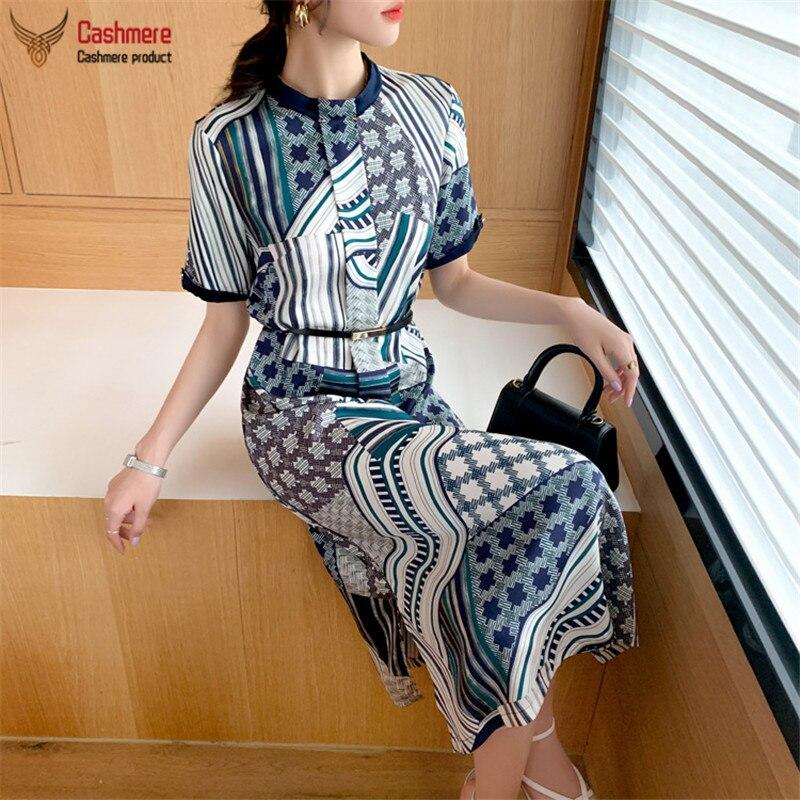 High-end silk dress women stand collar beaded temperament short-sleeved dress new heavy 26mm stretch satin geometric print dress