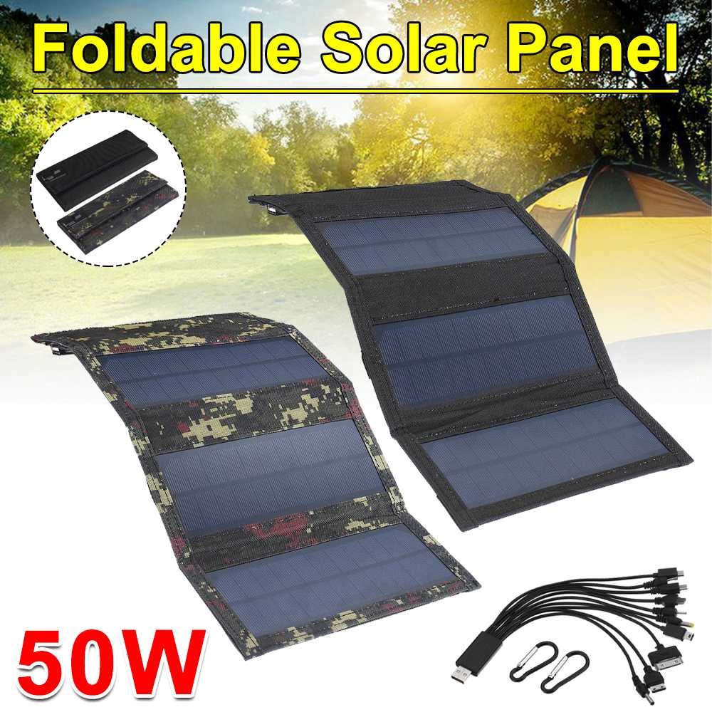 Foldable Solar Panel 50W 5V Sun power Solar Cells Folding Pack 10in1 USB Cable Portable Solar Charger for Phone Camping