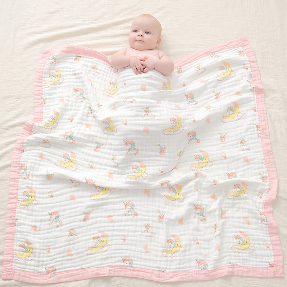 Kangobaby #My Soft Life# Autumn Winter 6 Layers Newborn Baby Muslin Swaddle Blanket Infant Quilt Stroller Cover