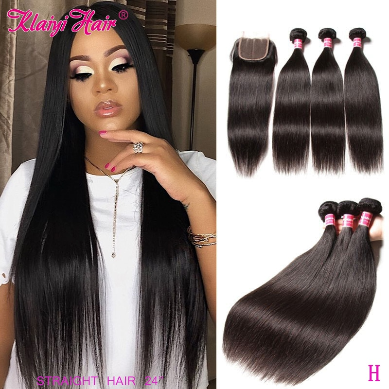 Klaiyi Malaysian Bone Straight Hair Bundles With Closure 100% Remy Human Hair Extensions 3/4 Weave Bundles With Lace Closure