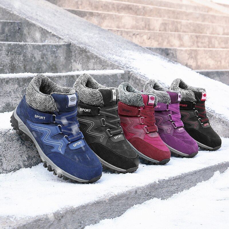 Newbeads Snow Boots Men's and Women's Lace Up Casual Warm Plush Thicken Couple Velcro Sports Cotton Shoes Sneakers
