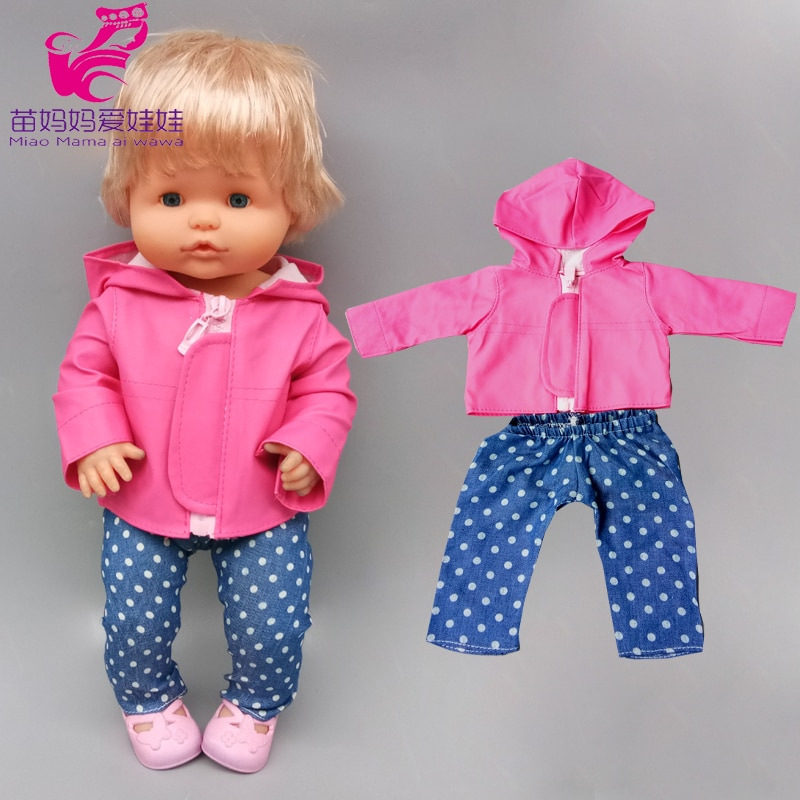 For 42cm Nenuco Baby Doll Clothes Jacket Fit 38cm Ropa Y Su Hermanita Doll Leather Coat