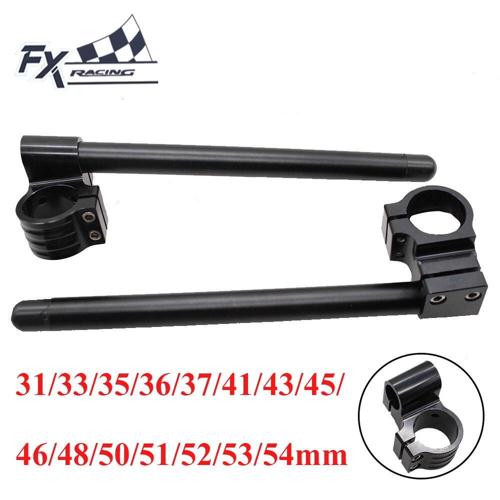 Motocicleta preta rised clip sobre os riser clipon guiador garfo barra de punho 31/33/35/36/37/41/43/45/46/48/50/51/52/53/54mm