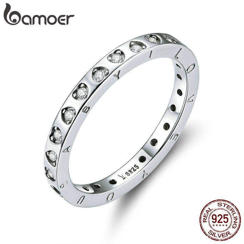 Bamoer compromiso anillo de boda genuino Plata de Ley 925 minimalista promesa anillos de dedo para mujeres 2020 Bijoux Moda SCR633