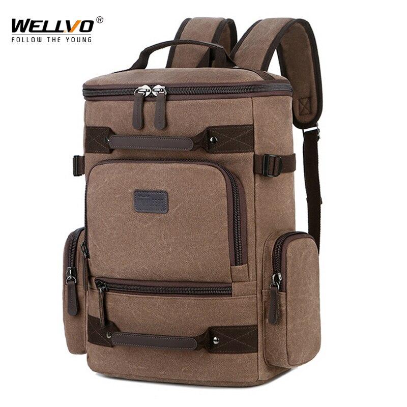 حقيبة ظهر ريترو للرجال ، حقيبة ظهر قماشية عالية الجودة ، حقيبة كمبيوتر محمول متعددة الجيوب ، حقيبة سفر غير رسمية في الهواء الطلق XA907ZC