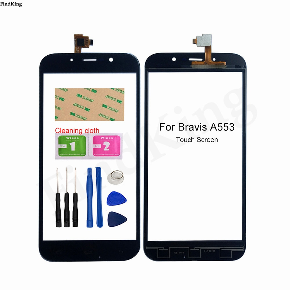 Touch Screen Front Glass For Bravis A553 Touch Screen Front Glass Digitizer Panel Lens Sensor 5.5''
