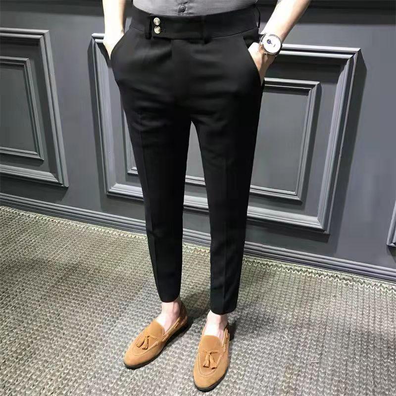 Мужские Брюки Корейская версия тренда лета белые повседневные брюки мужские костюмные брюки не требующие глажки Тонкие штаны девять секци...