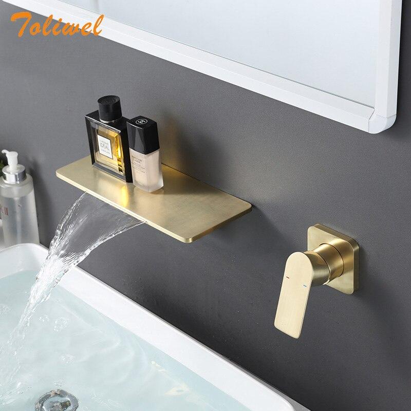 حنفية حمام مثبتة على الحائط ، فرشاة ذهبية ، صنبور شلال ، خلاط ساخن وبارد ، لحوض الحوض ، صنبور رف الحمام