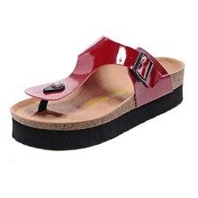 Birkenstock unique bouton sandales classique épaissir bas Sport plage pantoufles sandales à bout rabattable augmenté