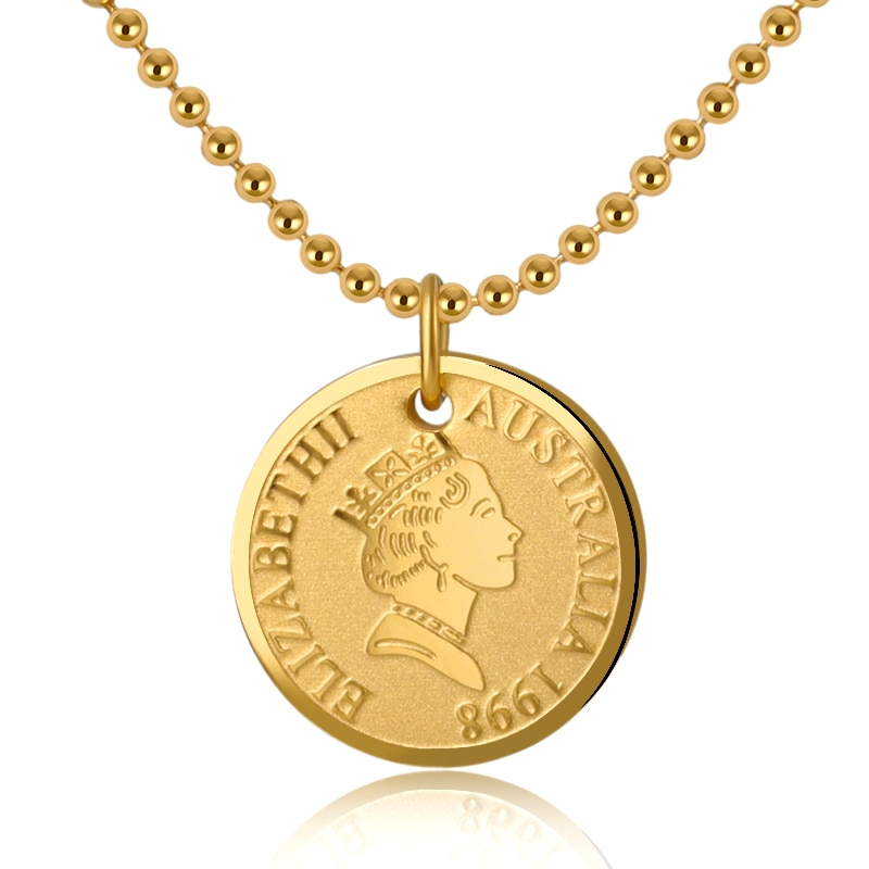 Vintage Jewelry Queen Elizabeth II Pendant Necklace for Women Head Portrait Coin Choker Necklaces Gold Silver Bijou Accessory