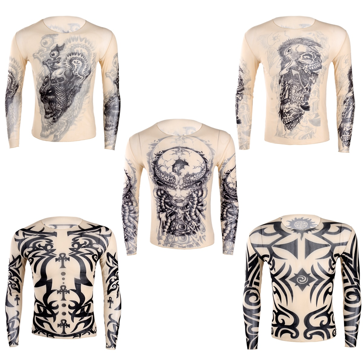 IEFiEL, Otoño, camisetas para hombres, tatuaje falso elástico transparente, camiseta de manga larga para culturismo para hombres, ropa de aspecto húmedo de Halloween