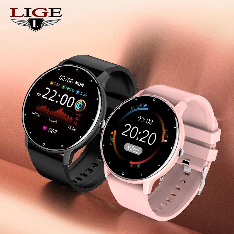 LIGE 2021 موضة جديدة الرجال ساعة ذكية النساء معدل ضربات القلب ضغط الدم متعددة الوظائف السيدات ساعة رياضية مقاوم للماء Smartwatch