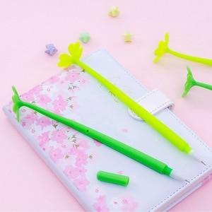 20Pcs Leaf Grass Shape Student Gel Pen Office Stationery Student Writing Pen Wholesale Kawaii School Supplies