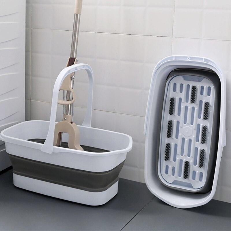 Cubo de la fregona, Cubo de limpieza plegable, Cubo de almacenamiento de agua de plástico portátil, fregona de suelo plegable Rectangular para el hogar