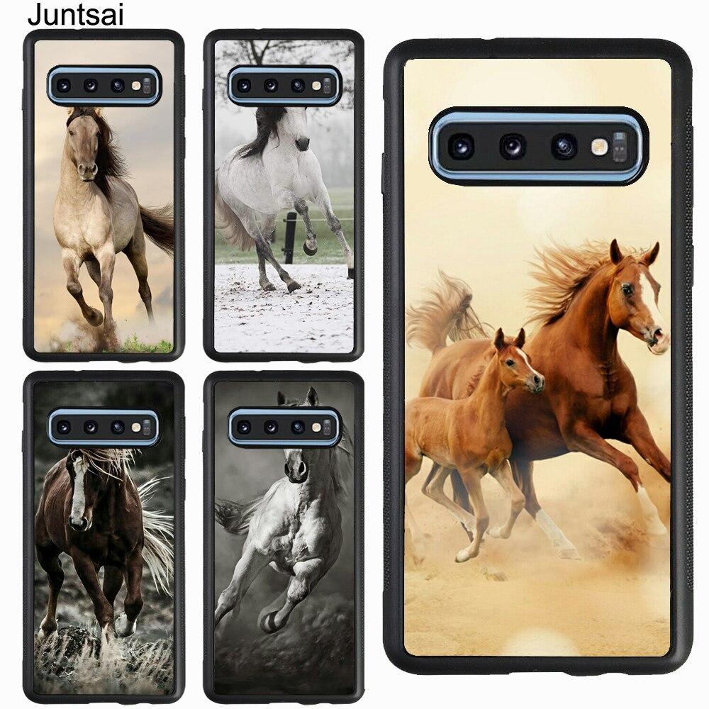 Cavalo de Corrida Correr Branco Marrom Caso de Animais Para Samsung Galaxy A51 A70 A71 A7 A50 A40 A20 S8 S9 S10 S20 Ultra S10e Nota 9 10 Plus