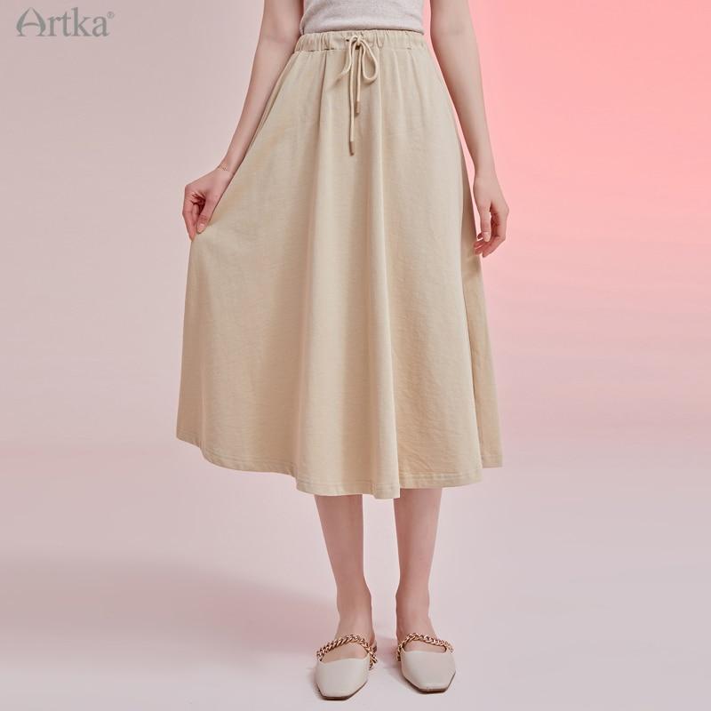 ARTKA-تنورة طويلة عالية الخصر للنساء ، قطن 2021 ، موضة ، خصر مرن ، أرجوحة ، كاجوال ، جيب ، مجموعة ربيع 100% الجديدة ، ZA25009Q