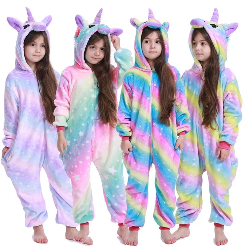 Kigurumi crianças unicórnio pijamas para meninas crianças uma peça dos desenhos animados animal dinossauro flanela inverno solf bebê meninos pijamas onesies