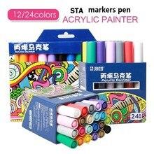 STA 1000 12/24/28 renk akrilik ressam su bazlı boya mürekkep resim kalemi okul boyama malzemeleri sanat yaratıcı DIY Graffit yeni
