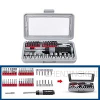 nsdtc 01 multifunction chrome vanadium steel 46 pieces ratchet hex socket phillips imported screwdriver bit combination tool kit