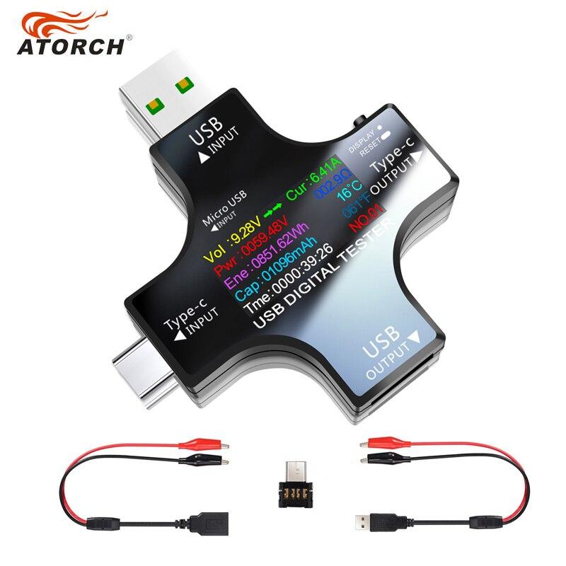 مقياس الفولتميتر الرقمي بتيار مستمر مع منفذ USB 3.1 مقياس الجهد مقياس التيار الكهربائي كاشف التيار الكهربائي مؤشر شاحن بنك الطاقة