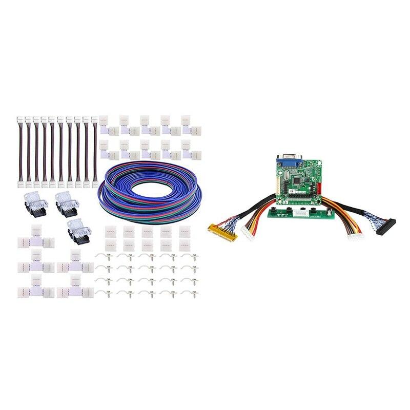 1 pçs MT561-B lvds lcd monitor sn driver placa controlador & 1 conjunto 5050 led strip 4pin conectores kit