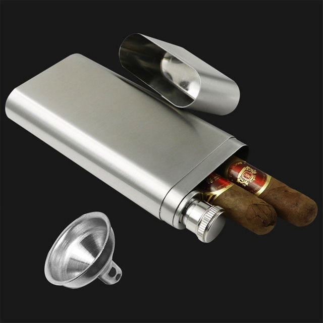 Stainless Steel Wine and Cigar Case with Funnel Cigarette Box Hip Flask Liquor Tube Outdoor Bottle Beer Whiskey Drinkware 8