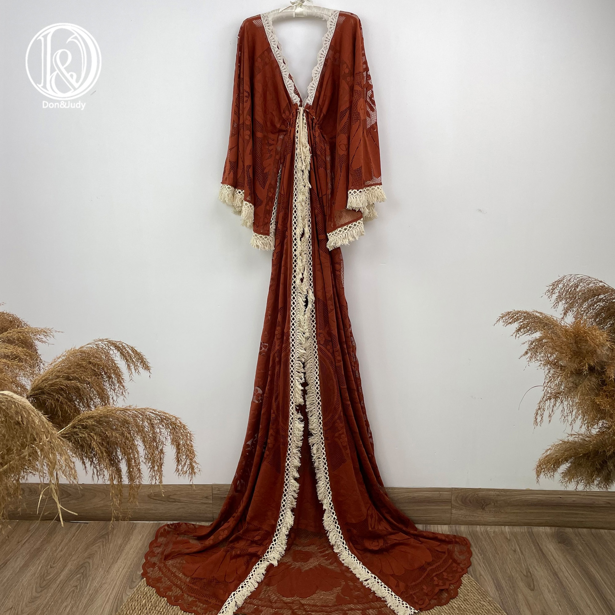 Don&Judy Boho Lace Maternity Photography Props Dresses Maternity Photo Shoot Cardigan Dress Pregnancy Women Long Maxi Gown 2021