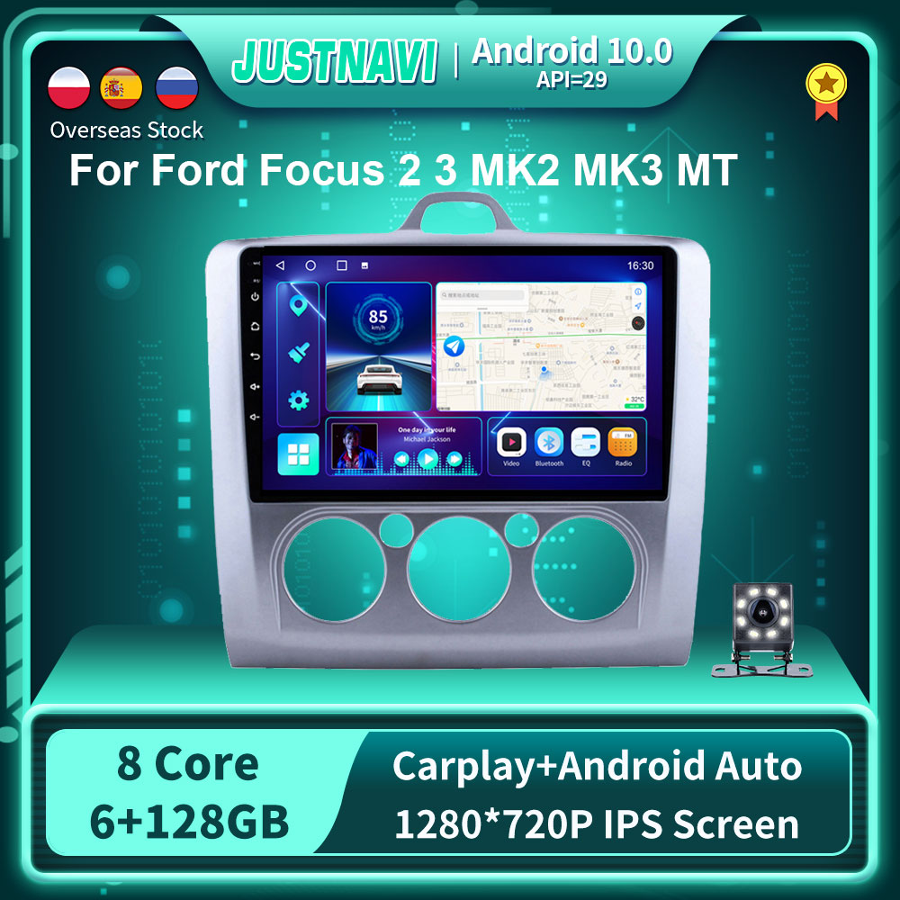 Фото - Мультимедийная магнитола для Ford Focus 2 3 MK2 MK3 MT 2004-2011, 9 дюймов, Android 128, GPS, DSP Carplay, 6G, G, стерео, No 2 din, DVD автомагнитола 2 din мультимедийный видеоплейер с gps навигацией bluetooth carplay dvd для toyota venza 128 2008 6g 2016g