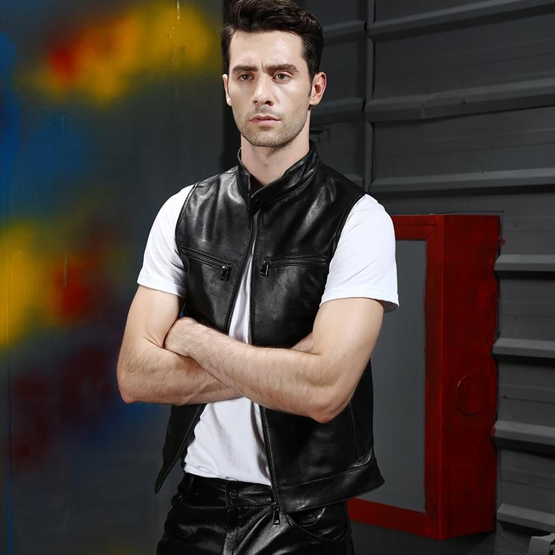 Leather Vest Genuine Men Waistcoat Motorcycle Biker Real Natural Sheepskin Sheep Skin Brand New Casual Sleeveless Jacket Coat
