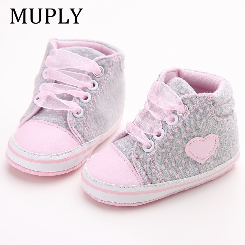 Infant Newborn Baby Girls Polka Dots Heart Autumn Lace-Up First Walkers Sneakers Shoes Toddler Class