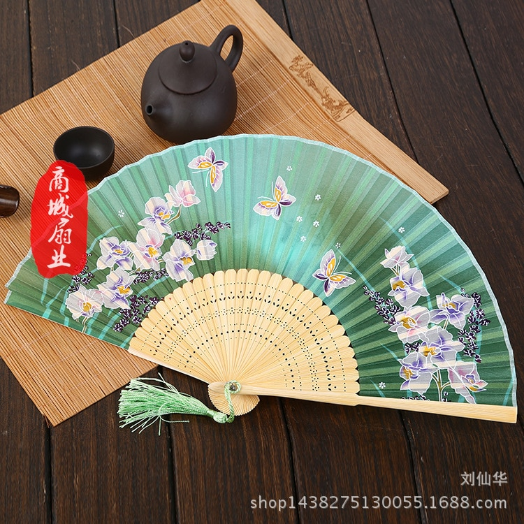 Ventilateur pliant Style japonais ventilateur femme style chinois papillon Style japonais ventilateurs en soie processus Style Antique petit ventilateur pliant