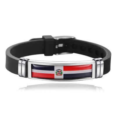 New Dominica Flag Bangles Sporty Style Stainless Steel Silicone Dominica Country Flag Bracelets Jewe
