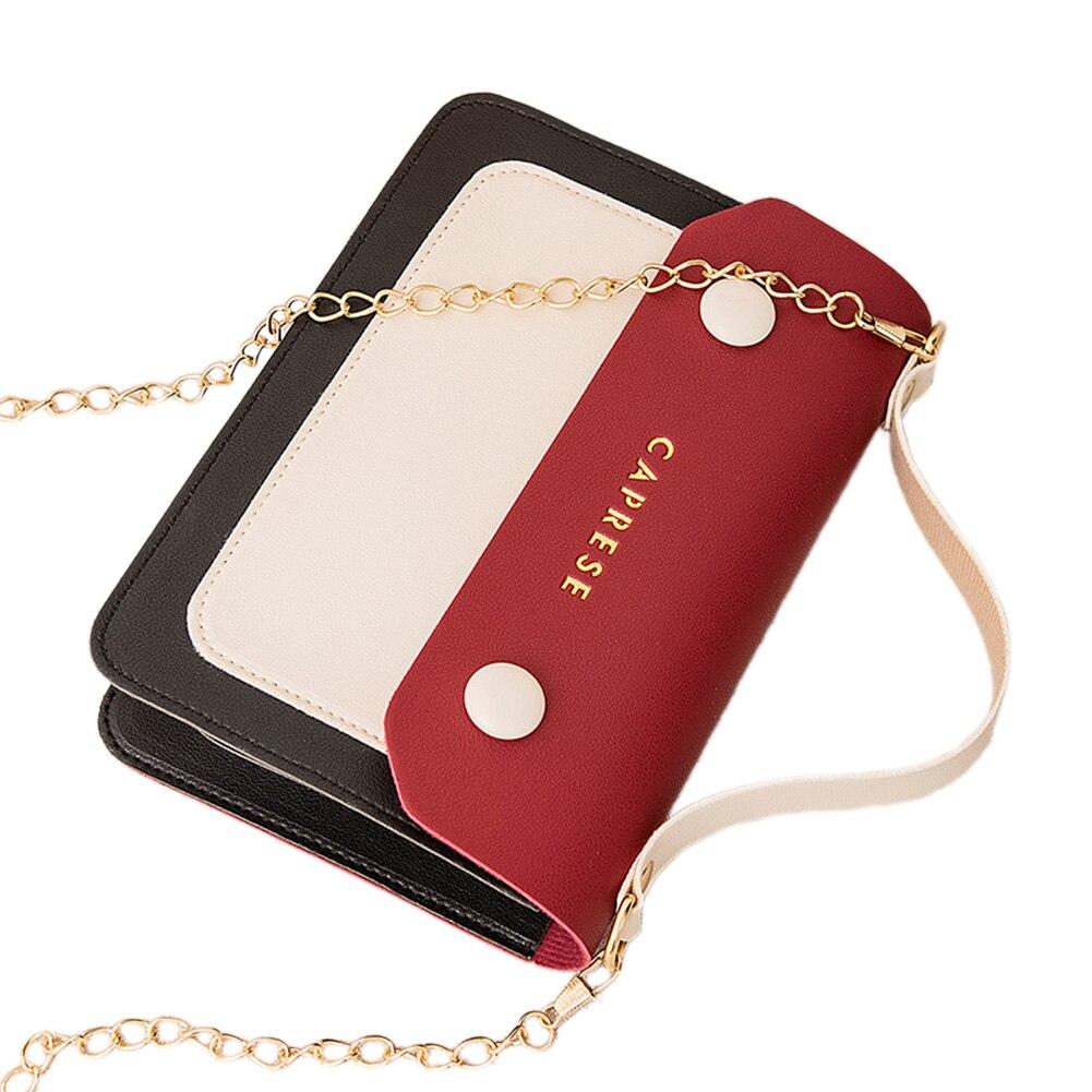 Bolso rectangular para mujer, bandolera pequeña Retro, cartera para teléfono móvil, bolso de hombro con diseño de bloque de Color Vintage