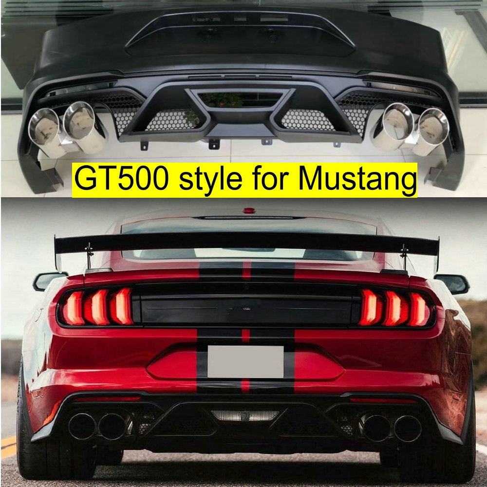 GT500 rear bumper / PU rear diffuser lip / exhaust pip tips car rear bumpers for Ford Mustang bodykit 2018 2019 bodykit bumpers