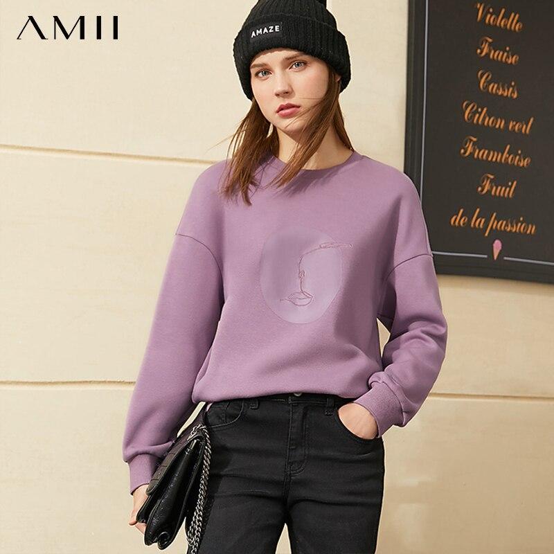 Толстовка Amii минимализм для женщин, модный флисовый утепленный пуловер с круглым вырезом и принтом, женский свитер, топы, зима 12040889 | Женская одежда | АлиЭкспресс