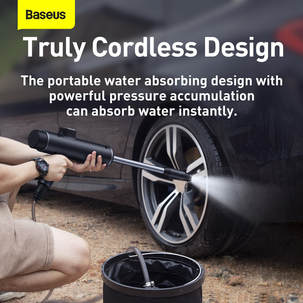 Car Cordless Electric Car Wash Water Gun High Pressure Washer Protable Cleaner Cleaning Care Foam Nozzle Digital Display Washer