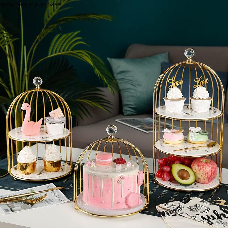 Soporte de cerámica para tartas de arte del hierro para jaula de pájaros, soporte de exhibición para decoración de mesa de postre, bandeja de varios niveles, estante para aperitivos para el té de la tarde