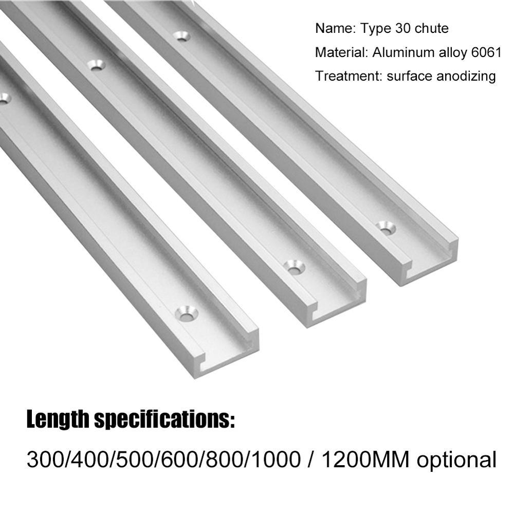 T-track Slot Miter Track T Screw T Slider 30 Model Aluminium Alloy Jig Fixture Pressure Woodworking DIY Tool 300 400 500 600 MM