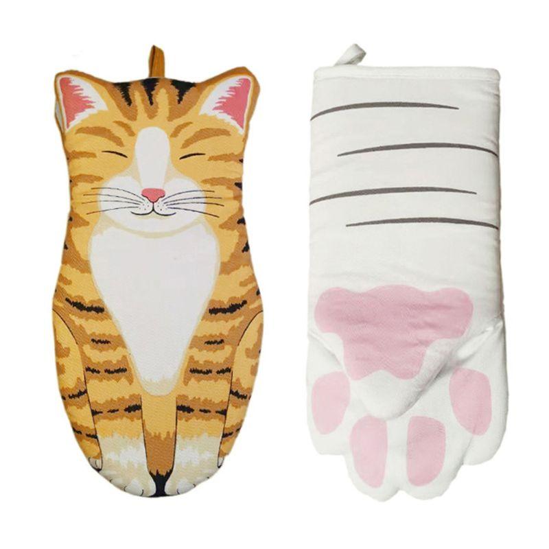 Gato patas forno mitten algodão cozimento luvas de isolamento microondas antiderrapante luvas c63b