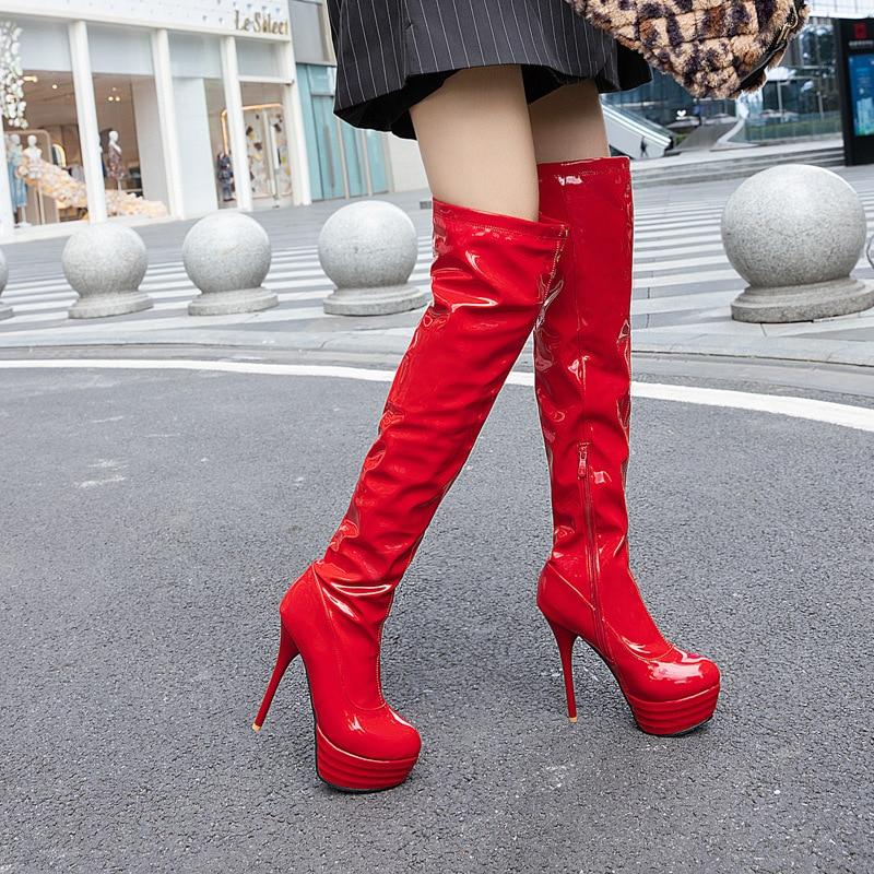 زائد حجم 33-46 مثير أكثر من الركبة الفخذ أحذية عالية النساء الخريف الشتاء أحذية طويلة أحذية النساء منصة الأحذية 2020