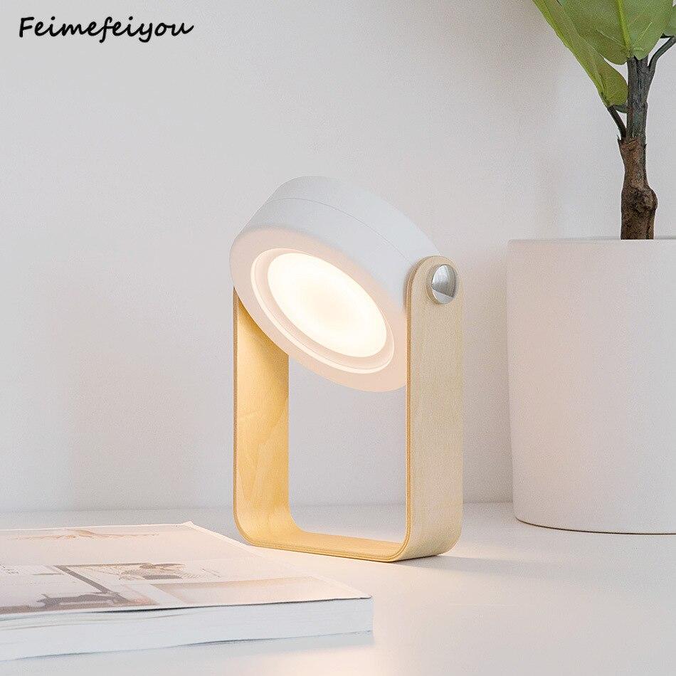 Lámpara de mesa plegable, linterna portátil con mango de madera + lámpara de mesa Led plegable retráctil, luz de lectura para dormitorio