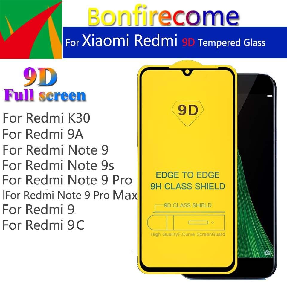 50 قطعة \ مجموعة 9D منحني كامل زجاج واقي فيلم ل Redmi 9 9A 9C K30 نوت 9 9S حامي ل نوت 9 برو ماكس الزجاج المقسى