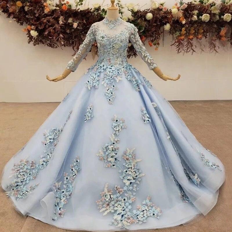 فساتين سهرة رائعة باللون الأزرق الجليدي بأكمام طويلة دانتيل زهور فساتين سهرة خرز منتفخ ملابس رسمية أنيقة رداء de soiree