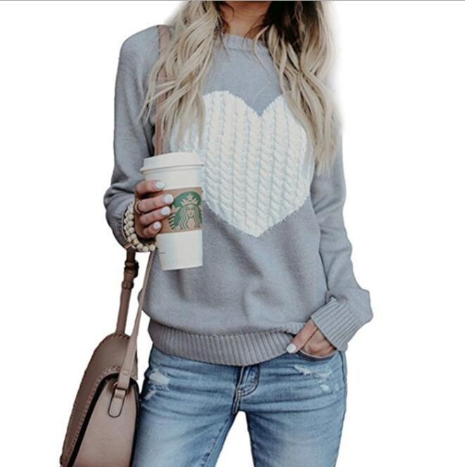 Otoño Invierno mujeres suéteres Pullovers manga larga suéter Delgado corazón tejido jerseys Sueter Mujer