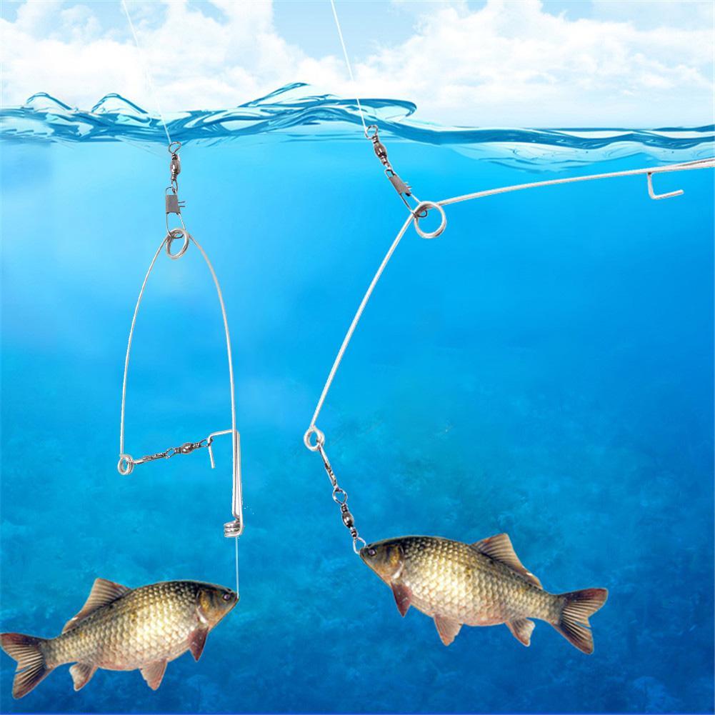 Gancho de pesca automático de alta velocidad para persona perezosa piezas de acero inoxidable artefacto de resorte Universal catapulta accesorios de pesca 4