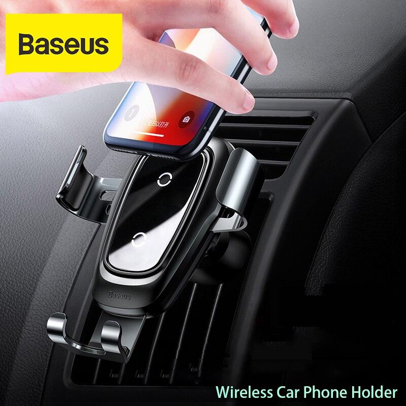 Baseus حامل هاتف السيارة 10 واط تشى شاحن لاسلكي آيفون X سامسونج S10 S9 S8 حامل هاتف سيارة الهاتف شاحن الطاقة في تنفيس الهواء