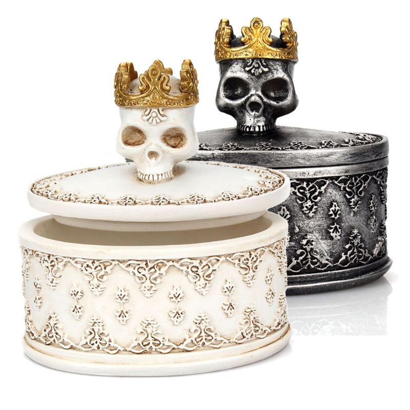 Mini caja de almacenamiento Retro gótica corona craneal organizador de joyas decoración de escritorio